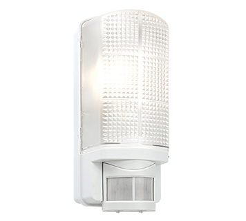 Endon Motion PIR 1 Light Outdoor Wall Light, Frosted & Gloss White Polycarbonate Finish - 48740