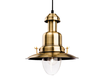 Firstlight Classic Fisherman Ceiling Pendant Light, Antique Brass Finish - 4874AB