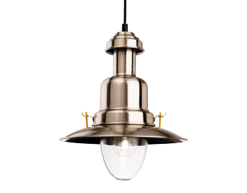 Firstlight Classic Fisherman Ceiling Pendant Light, Brushed Steel Finish - 4874BS