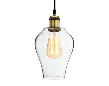 Firstlight Empire Ceiling Pendant Light, Antique Brass Finish With Clear Glass - 4875AB