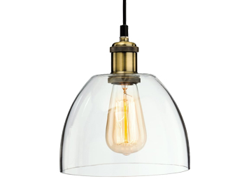 Firstlight Empire Ceiling Pendant Light, Antique Brass Finish With Clear Glass - 4876AB