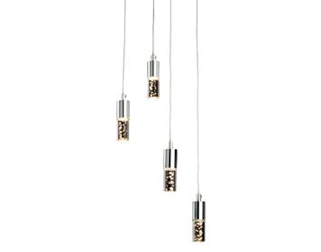 Firstlight Focus LED 4 Light Ceiling Pendant, Chrome Finish With Clear Acrylic Bubble Shades - 4885CH