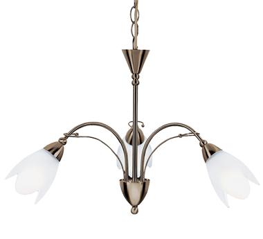 Searchlight Petal 3 Light Floor Lamp Antique Brass