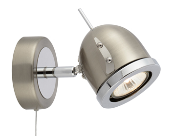 Searchlight Palmer 1 Light Spotlight, Satin Silver Finish - 4921SS