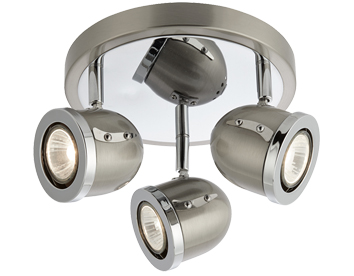 Searchlight Palmer 3 Light Spotlight, Satin Silver Finish - 4923SS