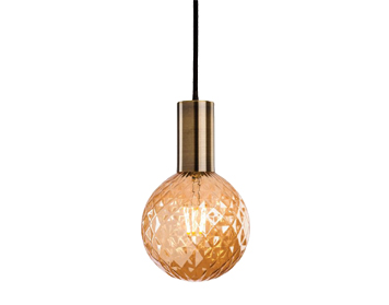 Firstlight Hudson Ceiling Pendant Light, Antique Brass Finish With Decorative Amber Glass - 4931