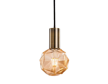 Firstlight Hudson Ceiling Pendant Light, Antique Brass Finish With Decorative Amber Glass - 4932