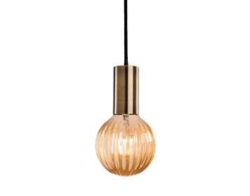 Firstlight Hudson Ceiling Pendant Light, Antique Brass Finish With Decorative Amber Glass - 4933