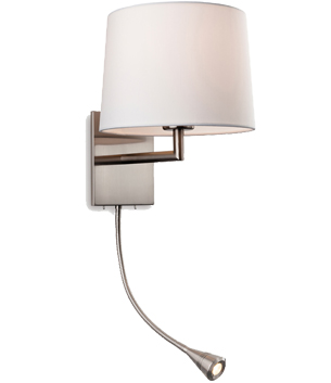 Firstlight Grand 2 Light Switched Wall Light, Brushed Steel With Cream Shade - 4936BS