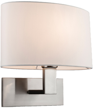 Firstlight Webster 1 Light Wall Light, Brushed Steel With Oval Cream Shade - 4937BS