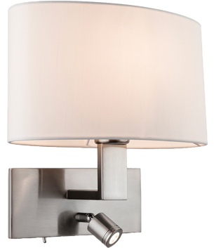 Firstlight Webster 2 Light Switched LED Wall Light, Brushed Steel With Oval Cream Shade - 4938BS