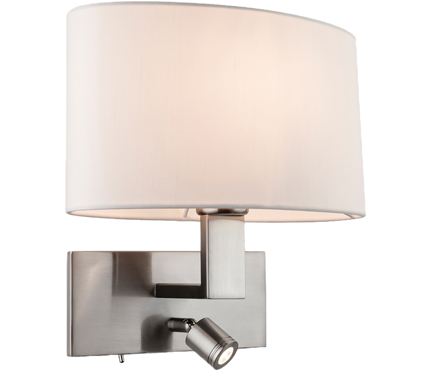 Firstlight webster 2 light switched led wall light brushed steel firstlight webster 2 light switched led wall light brushed steel with oval cream shade 4938bs aloadofball Images