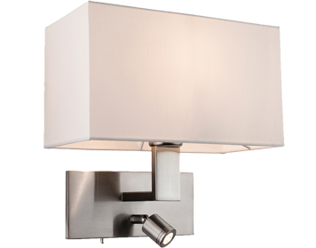 Firstlight Raffles 2 Light Switched LED Wall Light, Brushed Steel With Rectangular Cream Shade - 4940BS