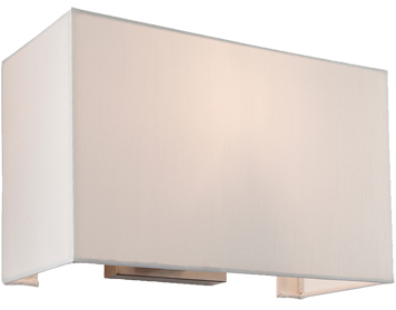 Firstlight Fargo 1 Light Flush Wall Light, Brushed Steel With Rectangular Cream Shade - 4941BS