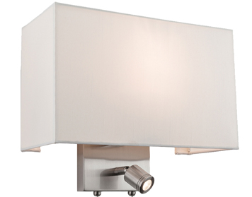 Firstlight Fargo 2 Light Switched LED Wall Light, Brushed Steel With Rectangular Cream Shade - 4942BS