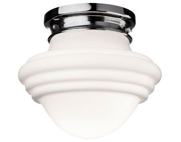 Firstlight Art Deco Flush Fitting Ceiling Light, Chrome With Opal Glass - 4944CH
