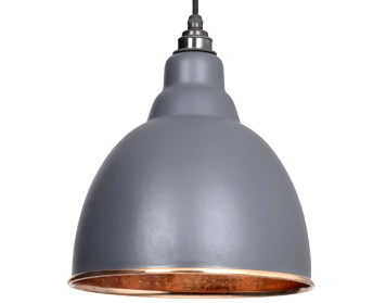 From The Anvil Brindley Ceiling Pendant, Dark Grey With Hammered Copper - 49500DG