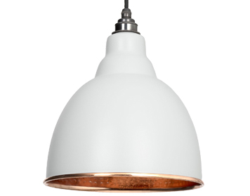 From The Anvil Brindley Ceiling Pendant, Light Grey With Hammered Copper - 49500LG
