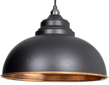 From The Anvil Harborne Ceiling Pendant, Black With Hammered Copper - 49501B