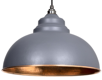 From The Anvil Harborne Ceiling Pendant, Dark Grey With Hammered Copper - 49501DG