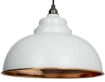 From The Anvil Harborne Ceiling Pendant, Light Grey With Hammered Copper - 49501LG