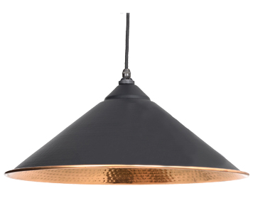 From The Anvil Yardley Ceiling Pendant, Black With Hammered Copper - 49502B