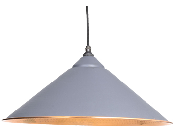 From The Anvil Yardley Ceiling Pendant, Dark Grey With Hammered Copper - 49502DG