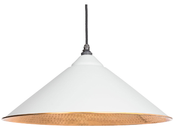 From The Anvil Yardley Ceiling Pendant, Light Grey With Hammered Copper - 49502LG