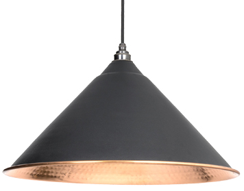 From The Anvil Hockley Ceiling Pendant, Black With Hammered Copper - 49503B