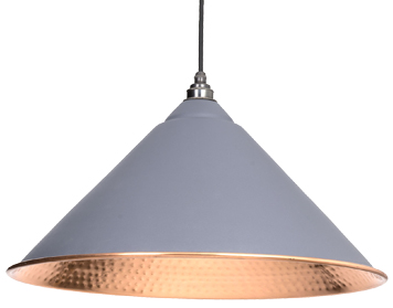 From The Anvil Hockley Ceiling Pendant, Dark Grey With Hammered Copper - 49503DG