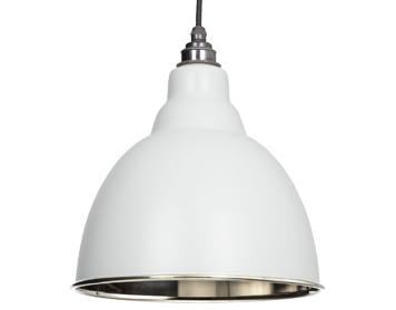 From The Anvil Brindley Ceiling Pendant, Light Grey With Smooth Nickel - 49504LG
