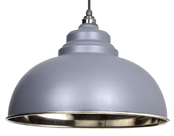 From The Anvil Harborne Ceiling Pendant, Dark Grey With Smooth Nickel - 49505DG