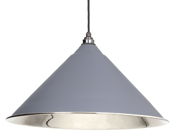 From The Anvil Hockley Ceiling Pendant, Dark Grey With Smooth Nickel - 49506DG