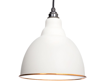 From The Anvil Brindley Ceiling Pendant, Oatmeal With White Gloss Interior - 49507M