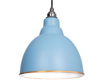 From The Anvil Brindley Ceiling Pendant, Pale Blue With White Gloss Interior - 49507PB