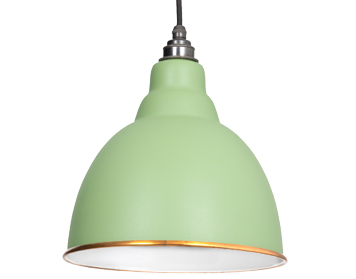 From The Anvil Brindley Ceiling Pendant, Sage Green With White Gloss Interior - 49507SG
