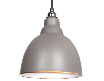 From The Anvil Brindley Ceiling Pendant, Warm Grey With White Gloss Interior - 49507WG