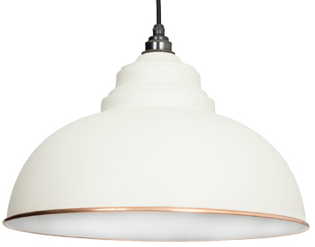From The Anvil Harborne Ceiling Pendant, Oatmeal With White Gloss Interior - 49508M