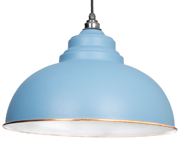 From The Anvil Harborne Ceiling Pendant, Pale Blue With White Gloss Interior - 49508PB