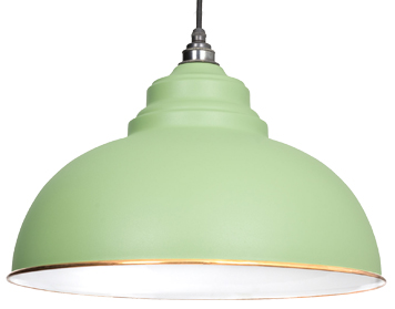 From The Anvil Harborne Ceiling Pendant, Sage Green With White Gloss Interior - 49508SG