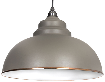 From The Anvil Harborne Ceiling Pendant, Warm Grey With White Gloss Interior - 49508WG
