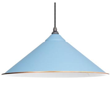 From The Anvil Yardley Ceiling Pendant, Pale Blue With White Gloss Interior - 49509PB
