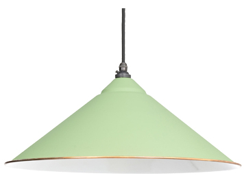 From The Anvil Yardley Ceiling Pendant, Sage Green With White Gloss Interior - 49509SG