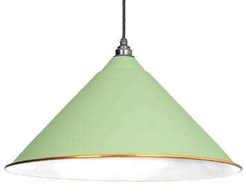 From The Anvil Hockley Ceiling Pendant, Sage Green With White Gloss Interior - 49510SG