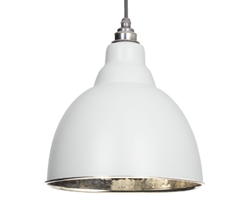 From The Anvil Brindley Ceiling Pendant, Light Grey With Hammered Nickel - 49511LG