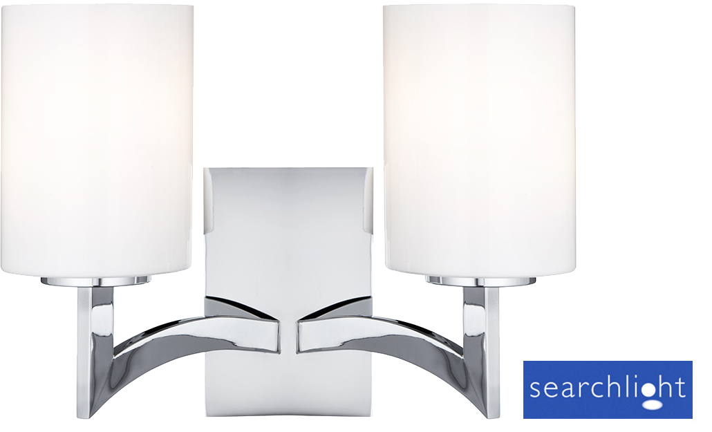 Searchlight gina 2 light switched wall light polished chrome finish searchlight gina 2 light switched wall light polished chrome finish with glass shades 4992 2cc aloadofball Images