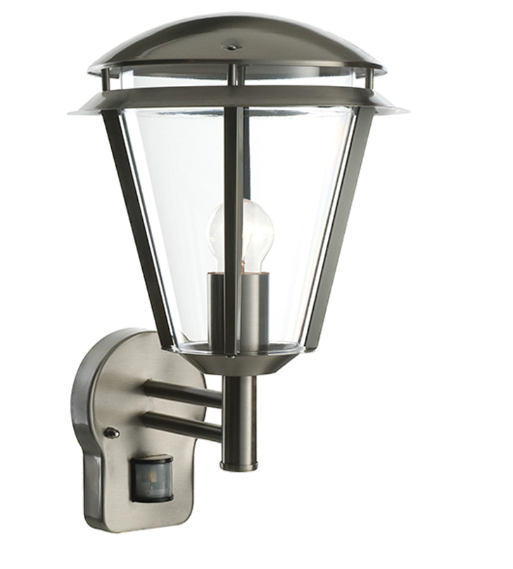 Endon Inova PIR IP44 1 Light Outdoor Wall Light, Brushed Stainless Steel & Clear Polycarbonate ...