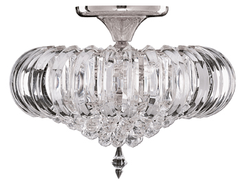 Searchlight Sigma 5 Light Flush Ceiling Light, Chrome Finish With Clear Acrylic Prisms & Balls - 50004CC