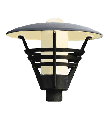 Konstsmide Gemini 1 Light Outdoor Post *Head Only*, Black Finish With Opal Glass Diffuser - 502-750