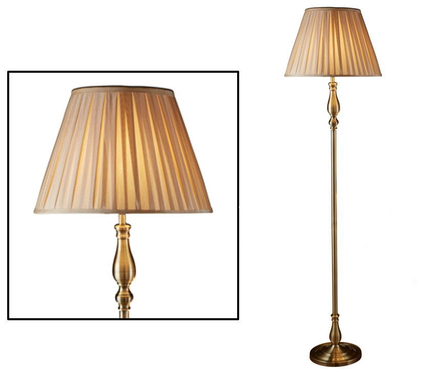 Searchlight flemish 1 light floor lamp antique brass finish with pleated fabric shade 5029ab